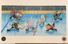 Looney Tunes WARNER BROS Coolest Characters On Ice NHL Hockey Litho Art