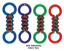 Double Tug Dog Toys Tough TPR Rubber Braided Fetch Play Assorted Colors 13""
