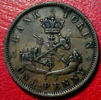 1857 CANADA LARGE ONE PENNY ST GEORGE SLAYING DRAGON #240