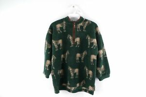 Vintage 90s Youth Size 8/10 All Over Horse Print Deep Pile Fleece Sweater Green
