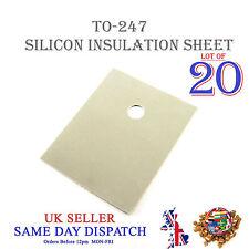 20x TRANSISTOR Isolamento Foglio in silicone TO-247 Isolante Termico Pad 20x25mm