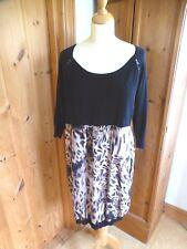 Mint Velvet black zip dress animal print silk skirt, knit top with pockets. 12