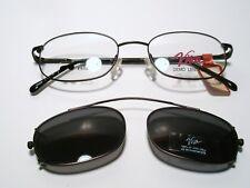 New Mens Metal Eyeglasses Viva 135 w/ Clip on Sunglass DARK GRAY 49-18-135