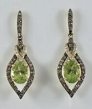 Gorgeous!!! Genuine Peridot & Diamond Solid 14kt Gold Dangle Earrings, New