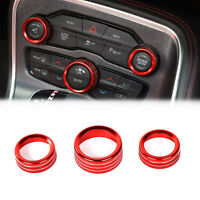 3X Air Condition&Audio Switch Knob Trim Ring Fit For RAM 12-17 / Charger 15+ Red