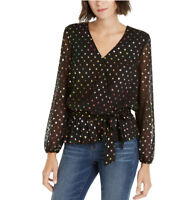 INC International Concepts Top Size L Glitz Long Sleeve Party Blouse Black Multi