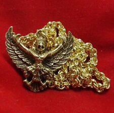 GARUDA MAGIC EAGLE BIRD AMULET LIFE GUARD PENDANT & 24 INCH GOLD PLATED NECKLACE