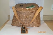 LARGE WICKER FLY FISHING FISH BASKET W/ PAINTED RAINBOW TROUT Bass Tag