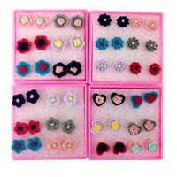 Fashion 6 Pairs/set Love Heart Resin Rose Flower Ear Stud Earrings Jewelry Gift