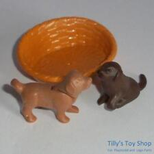 Playmobil-Marron Chiot x 2 & Dog Panier pour Animal Clinic/Pets Sets-New