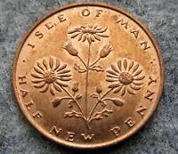 ISLE OF MAN 1975 HALFPENNY - ½ New Penny, RAGWORT FLOWER, UNC