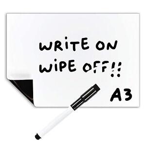A3 Magnetic Whiteboard + Dry Wipe Pen, Large Dry Erase Fridge Notice Memo Board