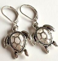 Silver Sea Life Turtle Earrings Island Nautical Beach Dangle Plated USA Seller