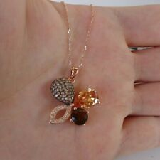 ROSE GOLD OVER STERLING SILVER FLOWER NECKLACE PENDANT W/ CHAMPAGNE LAB DIAMONDS