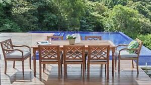 Claire - 9 Piece Outdoor Setting - Solid Eucalyptus Timber - With 2100mm Table