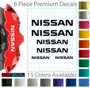 6 Nissan Decal Vinyl Stickers for Brake Caliper - Heat Resistant - 3 Sizes