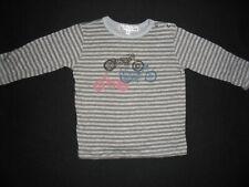 BONPOINT Joli T-Shirt Rayé Gris / Taupe Motif Motos Garçon 6 Mois