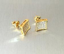 Mens Ladies 14K Gold Simulated Lab Diamond KITE Screw Back Stud Earrings 8mm