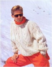 Men's Shoulder Detail Aran Sweater Vintage Knitting Pattern Instructions
