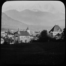Glass Magic Lantern Slide MONT BLANC FROM SALLENCHES C1890 PHOTO FRANCE