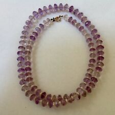 """VICTORIAN HAND FACETED NATURAL AMETHYST BEAD & PEARL NECKLACE 14k CLASP 30"""""""
