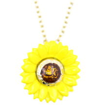 Collana fiore margherita in smalto giallo stile Art Déco