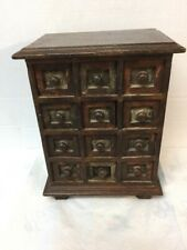 New listing Antique Folk Art Style Small 12 Drawer Spice Cabinet File Solid Wood Mahogany