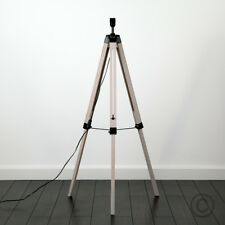 Large Wooden Industrial Style Tripod Floor Standard Lamp Base Lounge Lighting