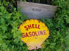 """Shell"" motor oils vintage pump plate lubester steel porcelain gas station sign"