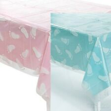 Clear Baby Footprint Tablecloth Baby Shower Party Decoration Boy Girl Pink Blue