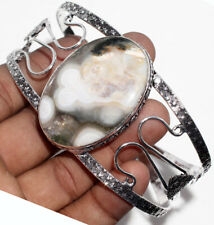 F48186 Ocean Jasper 925 Sterling Silver Plated Bangle Jewelry