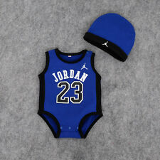 BABY SLEEVELESS JORDAN 23 ROMPER +HAT NEWBORN BOY GIRL BABYGROW OUTFITS CLOTHES