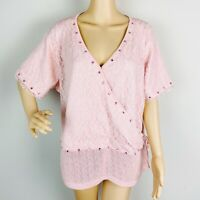 Storybook Knits Blushing Lace Sweater 2X Pink Short Sleeve Faux Wrap Embellished
