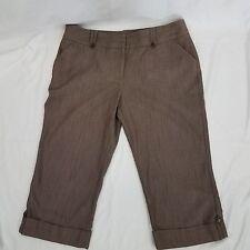Tracy Evan Women's Junior Capri Pant Size 11  Brown Plaid Stretch