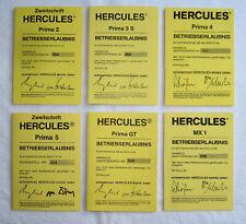 Betriebserlaubnis, Blanko, ABE, BE, Hercules Prima, 2 /M2 /3 /4 /5 /M5 /GT & MX1
