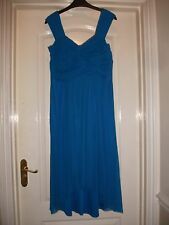 WALLIS AQUA BLUE SHEER MESH FLOATY DRAPE PANEL FRONT DIP HEM STRAPPY MIDI DRESS