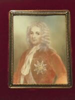 SIGNED ANTIQUE VINTAGE 18TH CENTURY NOBLEMAN FIGURE MINIATURE PORTRAIT PAINTING