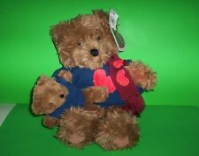 "Vintage Heart Patch Place 15"" Longhair BEAR & CUB Stuffed Plush Animals with Tag"