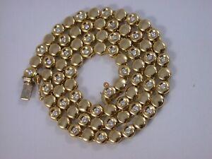 feines hochwertiges Tennis - Collier m. Brillanten aus den 90er massiv Gold  750