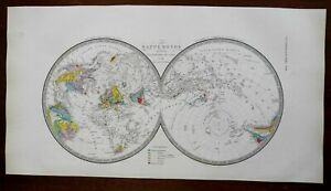 Geology Northern & Southern Hemispheres c. 1830's Brue detailed map hand color