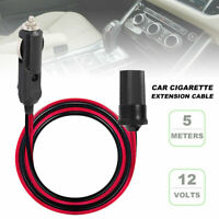 5M Car Cigarette Cigar Lighter Extension Cable Adapter Socket Charger Cord 12V