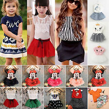 2tlg. Baby Mädchen Kinder T-shirt Top Rock Sommer Partykleid Outfit Kleidung Set