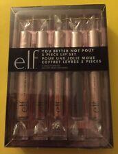 New e.l.f You Better Not Pout 5 Piece Lipstick Plumping Gloss Lacquer Gift Set