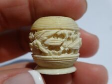 """Antique Carved Miniature Vase Pot Doll House 7/8"""" tall x 1"""" diameter"""