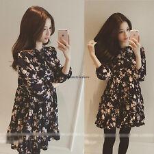 Vintage Korean Women Chiffon Floral A Line Empire Waist Slim Casual Tunic Dress