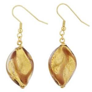 GlassOfVenice Murano Glass Royal Purple Spiral Earrings