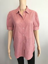 Women's Krizia Jeans Italy Pink Short Sleeve Collar Button Down Blouse Size 8