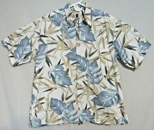 Tori Richard Blue Tropical Print Hawaiian Shirt Cotton Lawn XL Made in USA