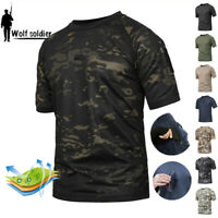 Mens Military Tactical T-Shirt Combat Short Sleeve Army Casual Shirts Camouflage