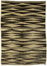 Moroccan Wool Rug with Tribal Geometric Design in Brown and Cream N10558